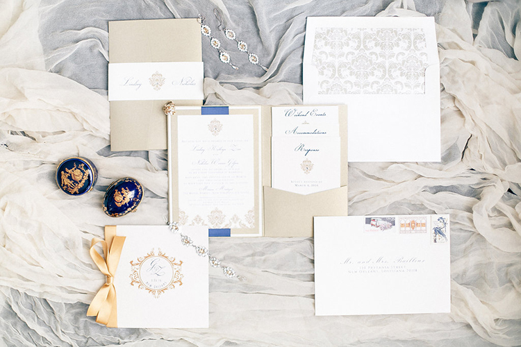 classic wedding invitations - photo by Kaylynn Marie Photography http://ruffledblog.com/midnight-in-paris-inspired-wedding-in-new-orleans