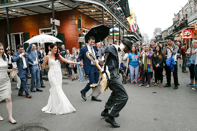 second line weddings - photo by Kaylynn Marie Photography http://ruffledblog.com/midnight-in-paris-inspired-wedding-in-new-orleans