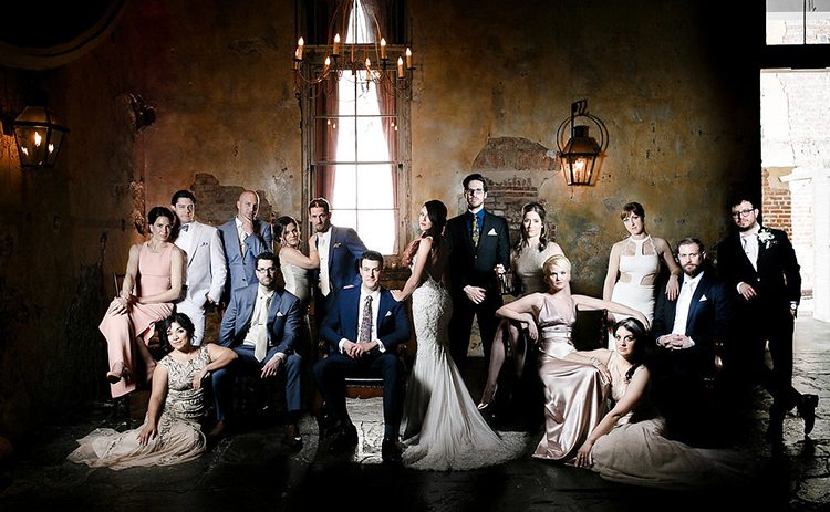 Vanity Fair style wedding portraits - photo by Kaylynn Marie Photography http://ruffledblog.com/midnight-in-paris-inspired-wedding-in-new-orleans
