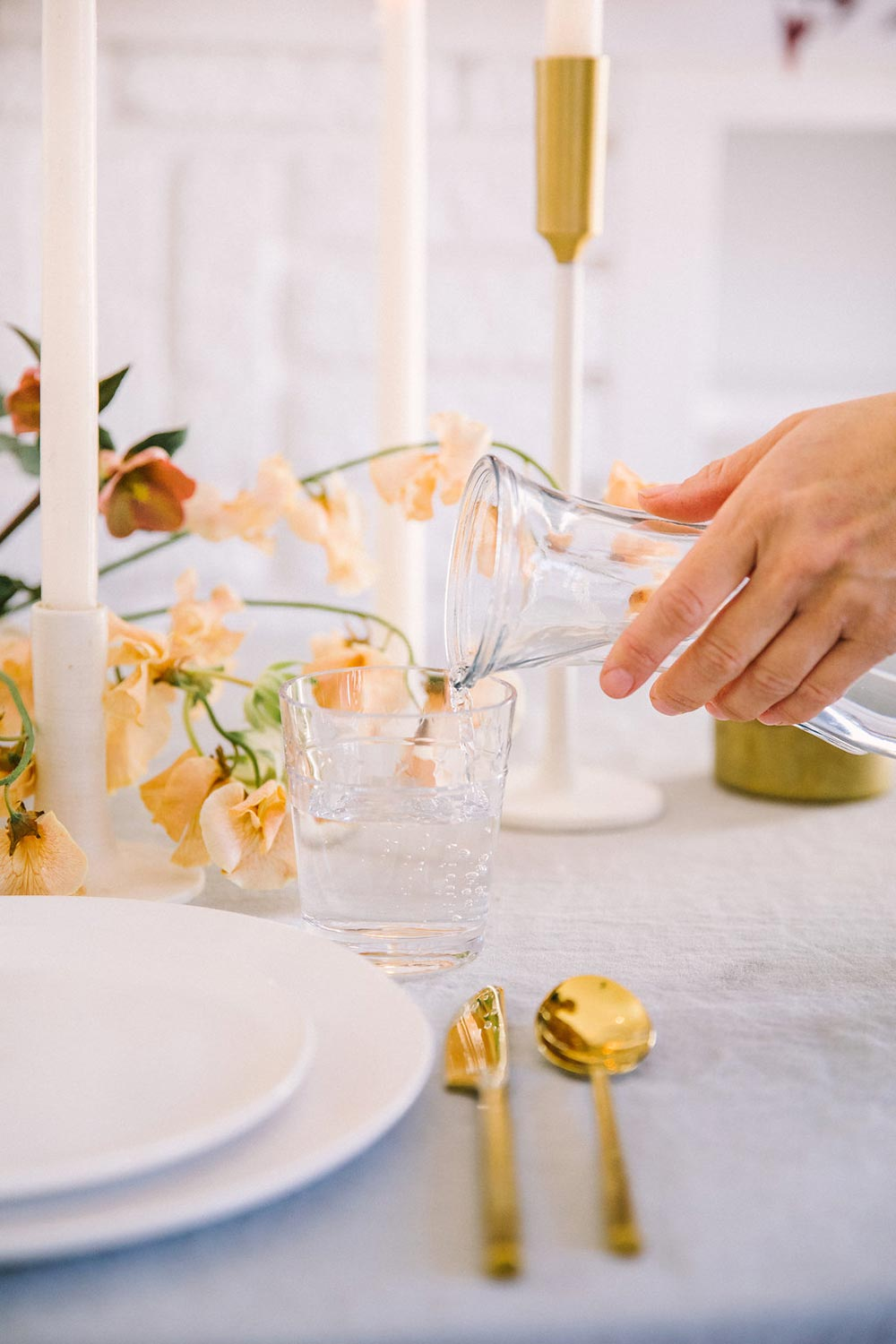 gold wedding flatware and simple place setting