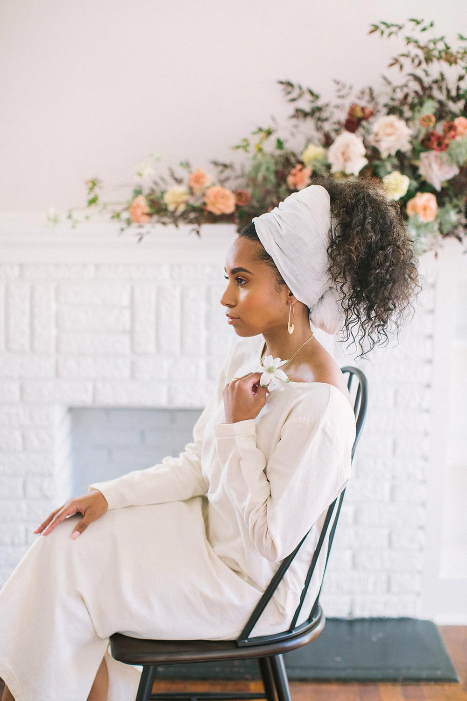 scoop neck linen dress and modern bridal updo