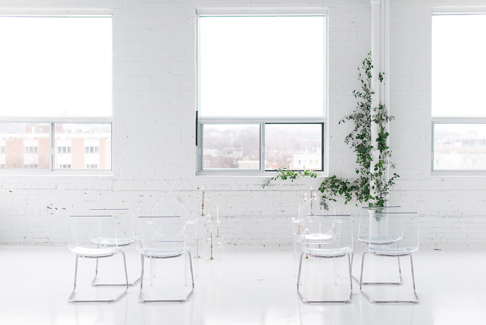 ceremony setup - photo by Laura Kelly Photography http://ruffledblog.com/minimalist-monochrome-european-wedding-inspiration