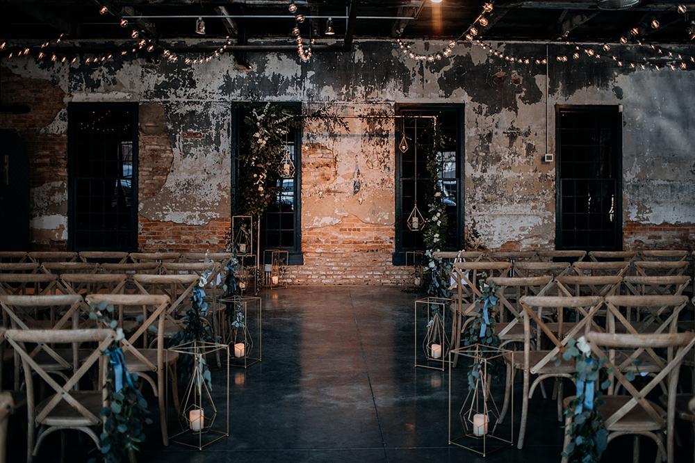 modern geometric wedding ceremonies - https://ruffledblog.com/modern-baltimore-mill-house-wedding
