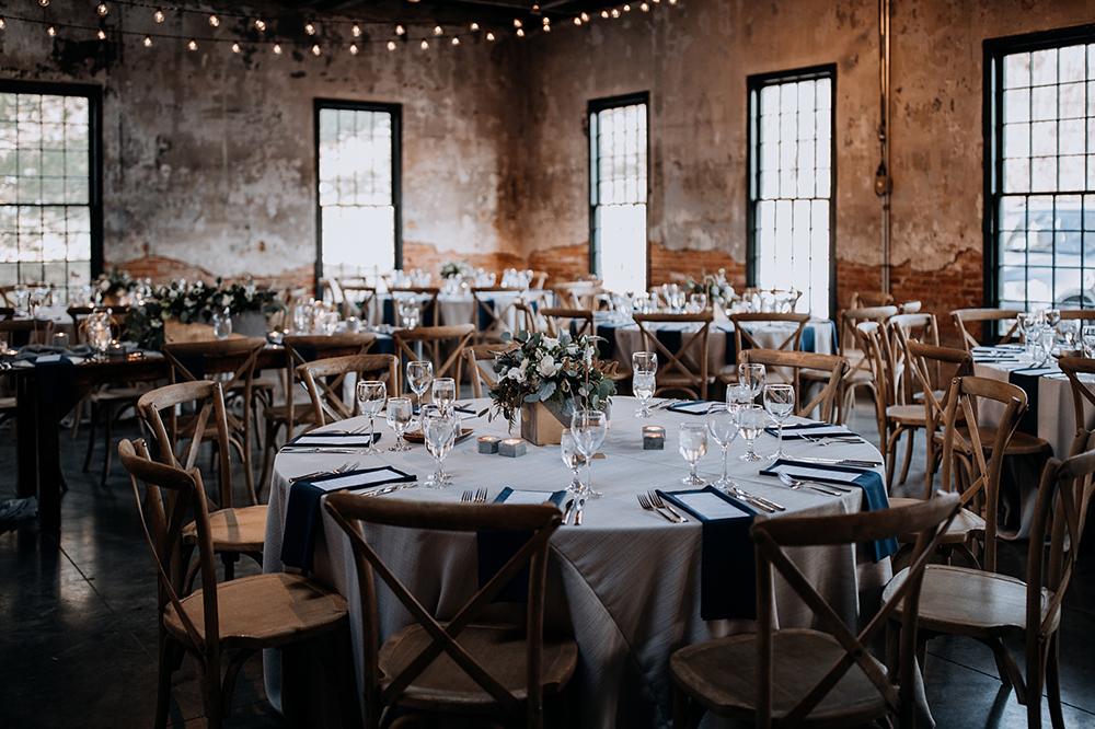 modern industrial wedding receptions - https://ruffledblog.com/modern-baltimore-mill-house-wedding