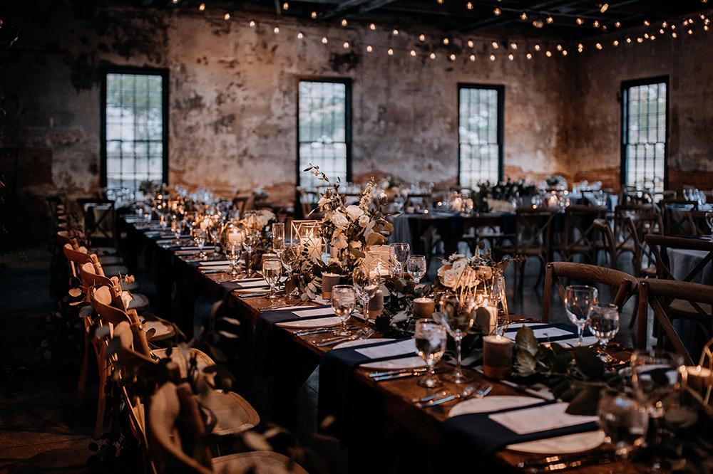 modern industrial weddings - https://ruffledblog.com/modern-baltimore-mill-house-wedding