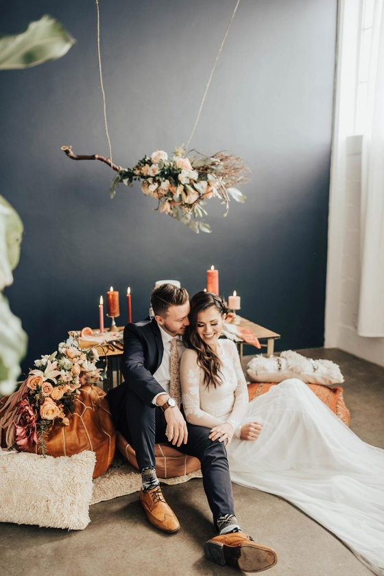 Modern Boho Wedding Inspiration with a Custom Tassel Backdrop
