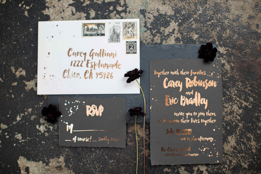 black and copper wedding invitations - photo by BrittRene Photo http://ruffledblog.com/modern-chic-foodie-wedding-inspiration-in-san-francisco