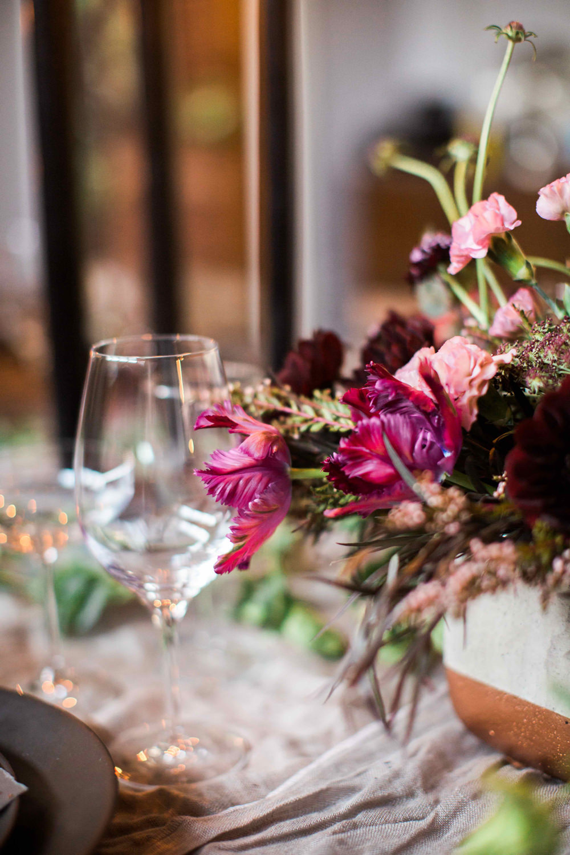 fuchsia centerpieces - photo by BrittRene Photo http://ruffledblog.com/modern-chic-foodie-wedding-inspiration-in-san-francisco