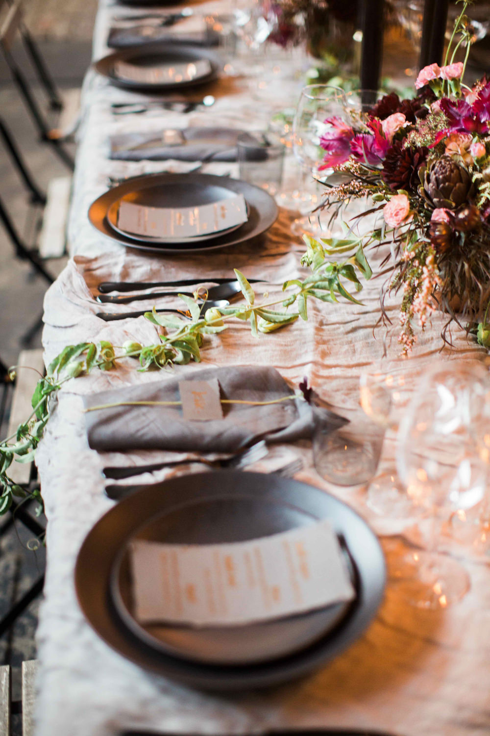 reception tablescapes - photo by BrittRene Photo http://ruffledblog.com/modern-chic-foodie-wedding-inspiration-in-san-francisco