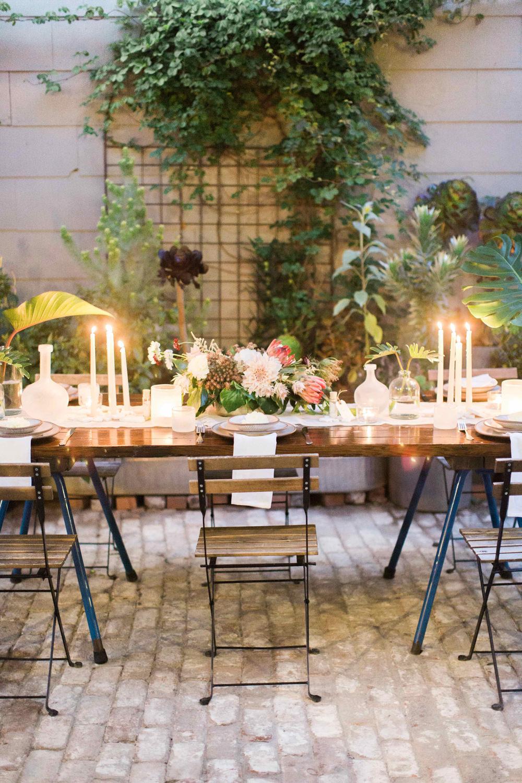 wedding reception tables - photo by BrittRene Photo http://ruffledblog.com/modern-chic-foodie-wedding-inspiration-in-san-francisco