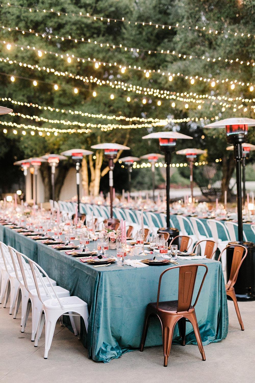 teal velvet tablescape al fresco dinner party