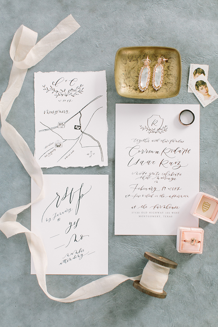 romantic wedding invitations - photo by Mustard Seed Photography https://ruffledblog.com/modern-farmhouse-wedding-with-organic-details