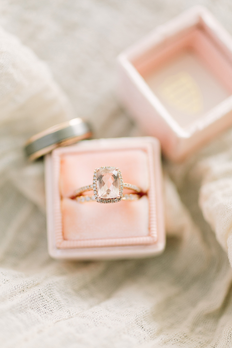 pretty non diamond engagement rings - photo by Mustard Seed Photography https://ruffledblog.com/modern-farmhouse-wedding-with-organic-details