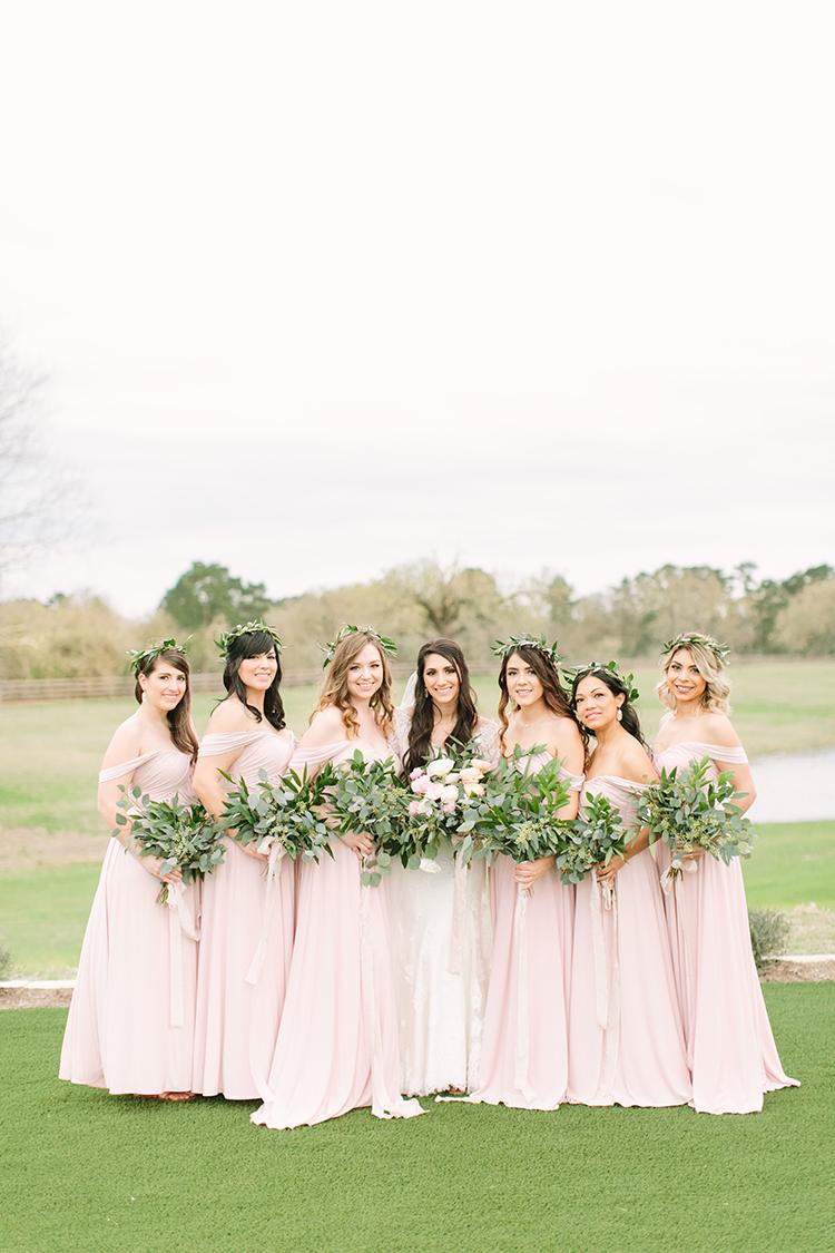 blush pink bridesmaid dresses - photo by Mustard Seed Photography http://ruffledblog.com/modern-farmhouse-wedding-with-organic-details