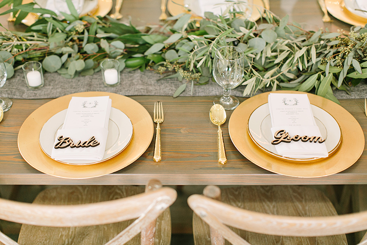 bride and groom place settings - photo by Mustard Seed Photography http://ruffledblog.com/modern-farmhouse-wedding-with-organic-details