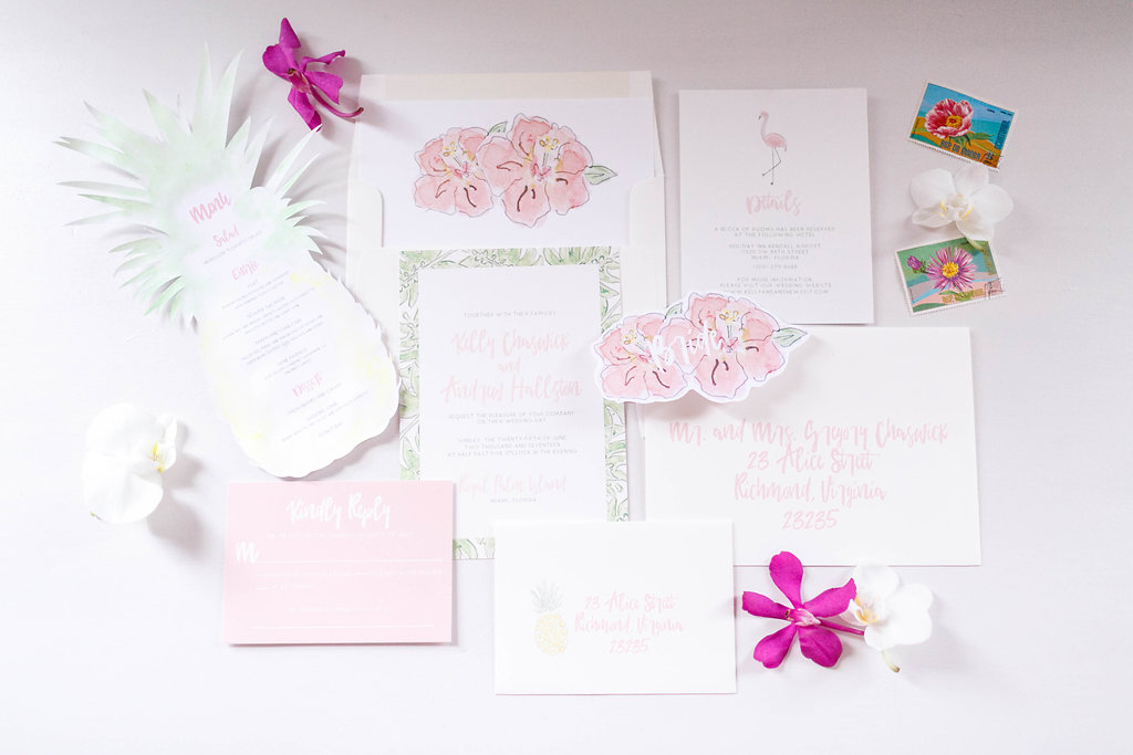 floral wedding invitations - photo by Virginia Ashley Photography http://ruffledblog.com/modern-industrial-wedding-inspiration-with-tropical-vibes