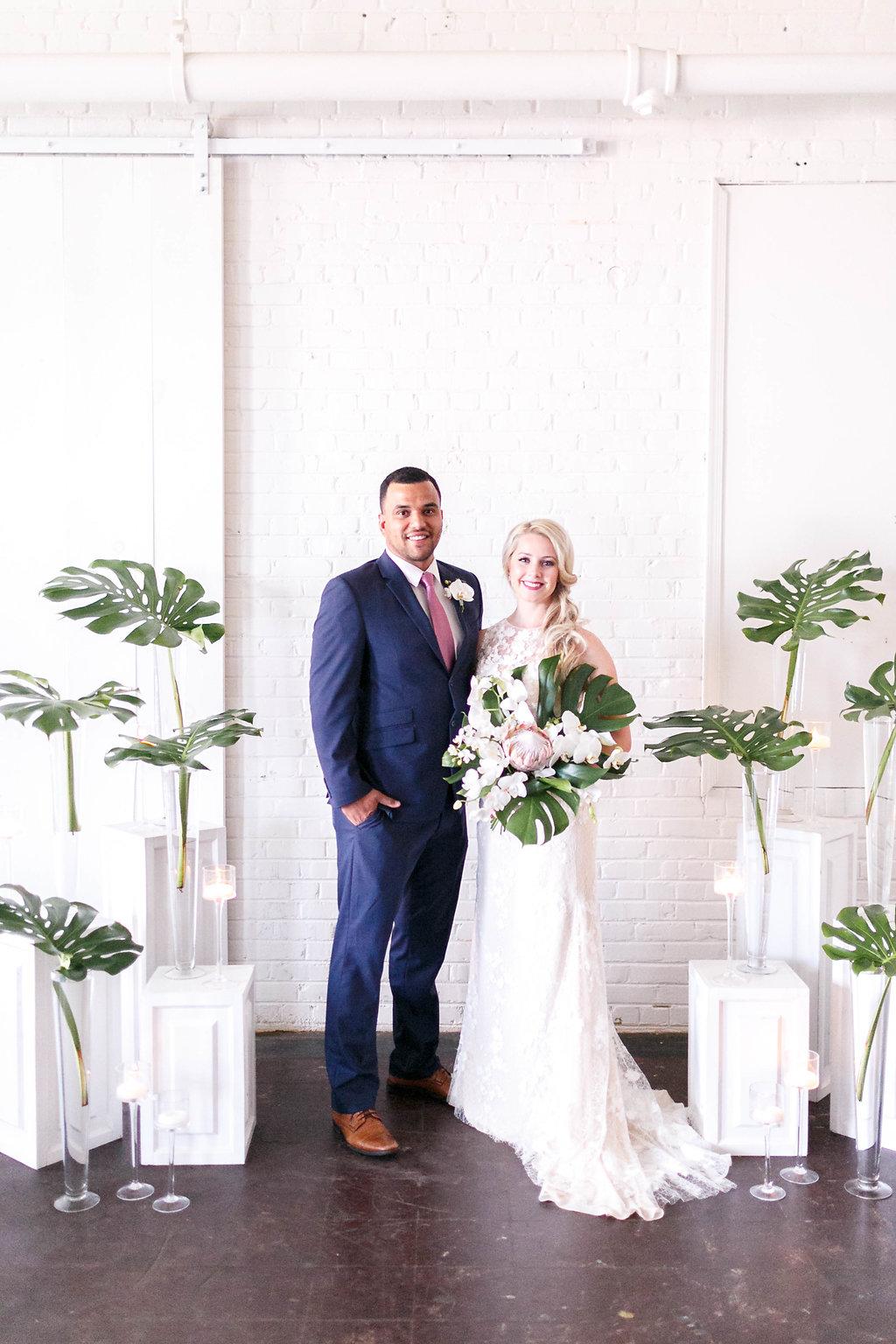 tropical wedding ideas - photo by Virginia Ashley Photography http://ruffledblog.com/modern-industrial-wedding-inspiration-with-tropical-vibes