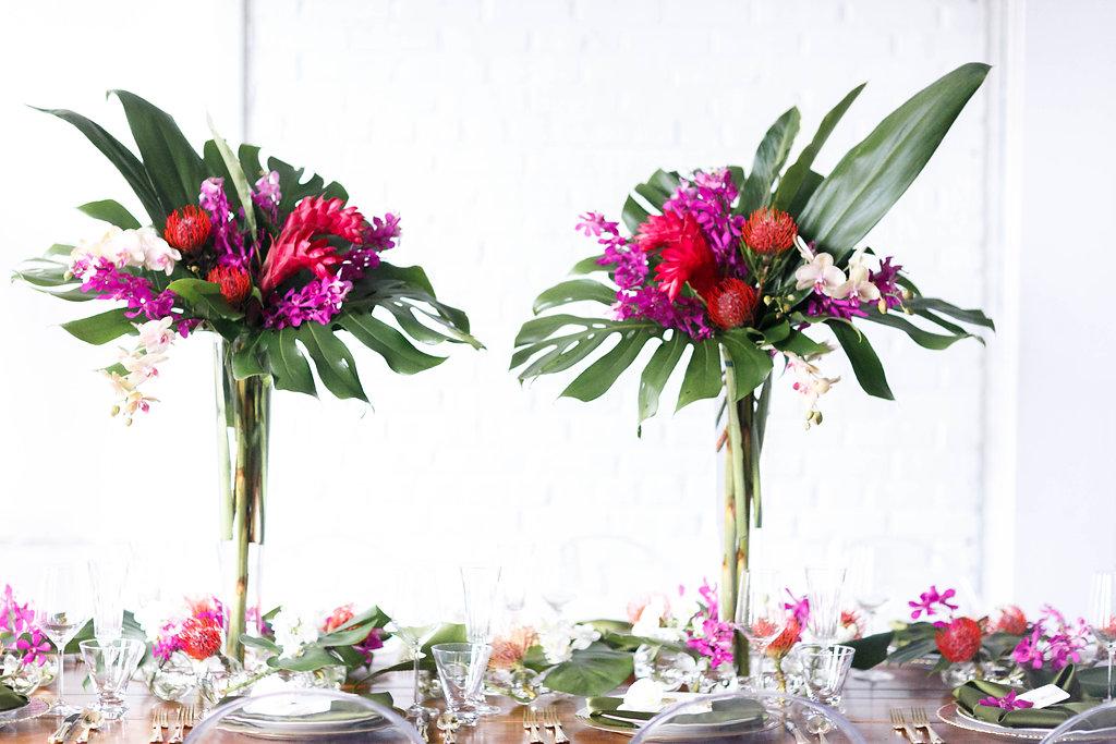 tropical wedding tables - photo by Virginia Ashley Photography http://ruffledblog.com/modern-industrial-wedding-inspiration-with-tropical-vibes