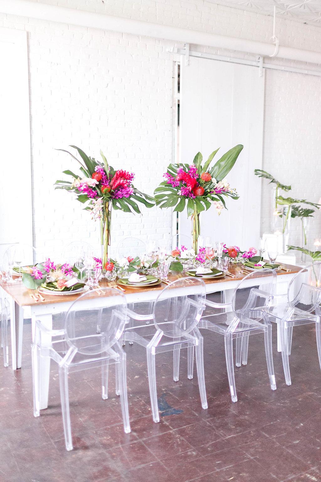 tropical wedding inspiration - photo by Virginia Ashley Photography http://ruffledblog.com/modern-industrial-wedding-inspiration-with-tropical-vibes