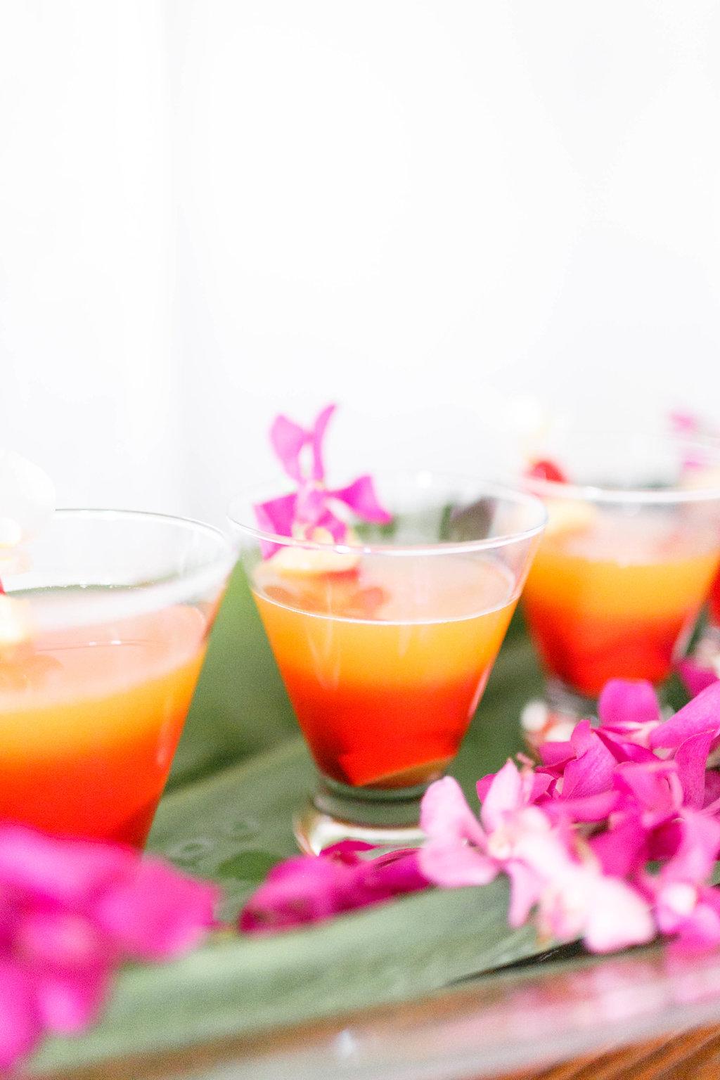 tropical wedding drinks - photo by Virginia Ashley Photography http://ruffledblog.com/modern-industrial-wedding-inspiration-with-tropical-vibes