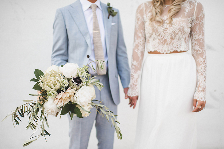 lace wedding dress separates - photo by A Sea of Love http://ruffledblog.com/modern-industrial-wedding-with-lots-of-greenery