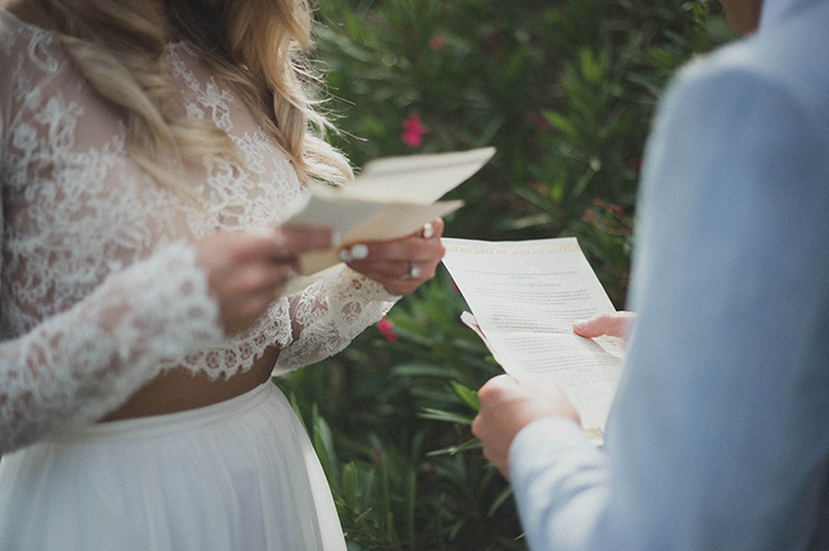 wedding vow readings - photo by A Sea of Love http://ruffledblog.com/modern-industrial-wedding-with-lots-of-greenery