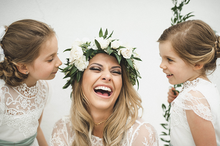 bride and flower girls - photo by A Sea of Love https://ruffledblog.com/modern-industrial-wedding-with-lots-of-greenery
