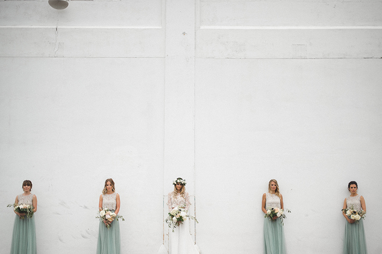 bridesmaid photography - photo by A Sea of Love http://ruffledblog.com/modern-industrial-wedding-with-lots-of-greenery