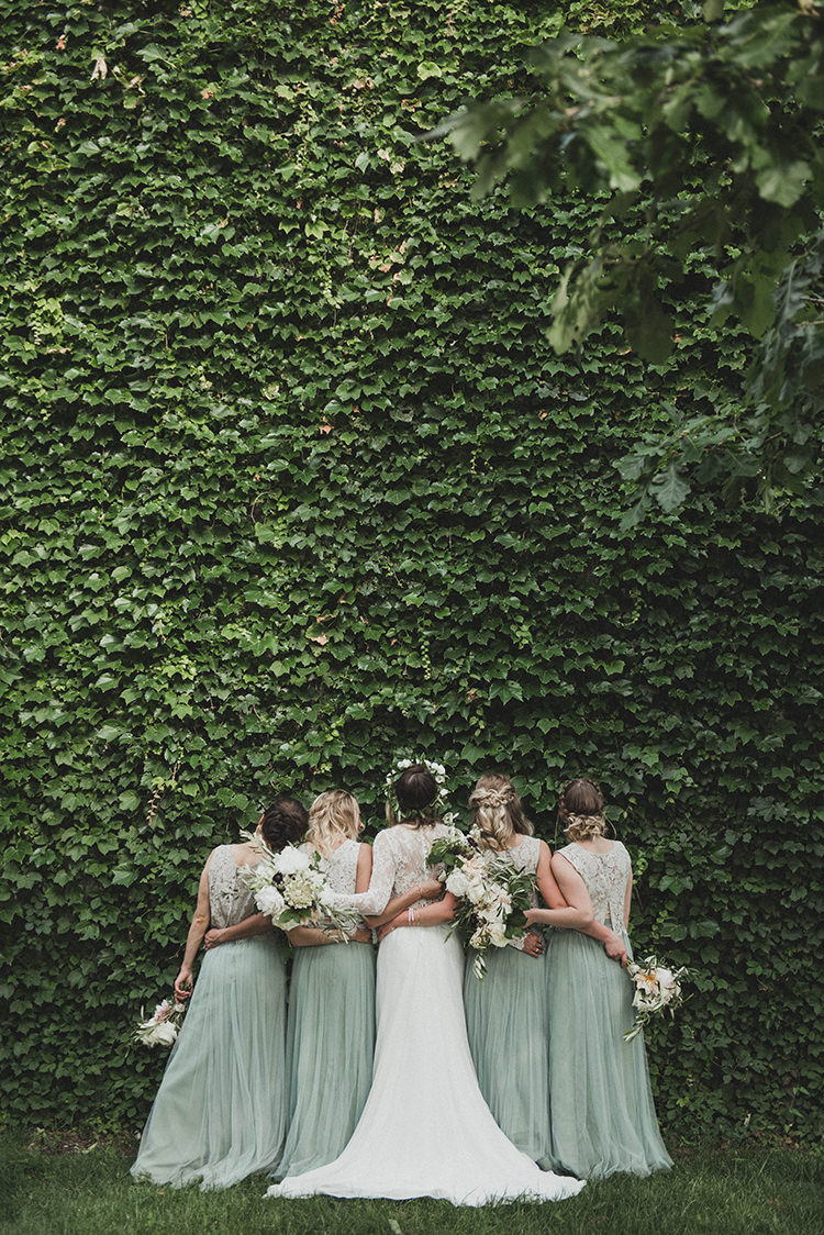 seafoam bridesmaid dresses - photo by A Sea of Love http://ruffledblog.com/modern-industrial-wedding-with-lots-of-greenery