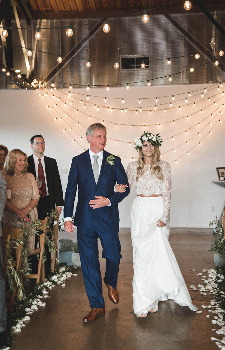 ceremony processionals - photo by A Sea of Love http://ruffledblog.com/modern-industrial-wedding-with-lots-of-greenery