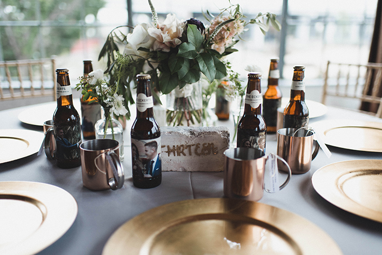 modern table settings - photo by A Sea of Love http://ruffledblog.com/modern-industrial-wedding-with-lots-of-greenery