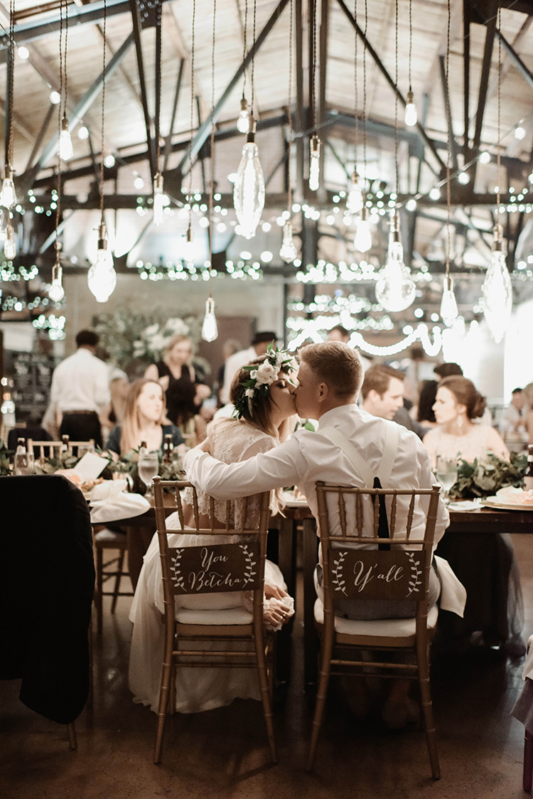 bride and groom - photo by A Sea of Love http://ruffledblog.com/modern-industrial-wedding-with-lots-of-greenery