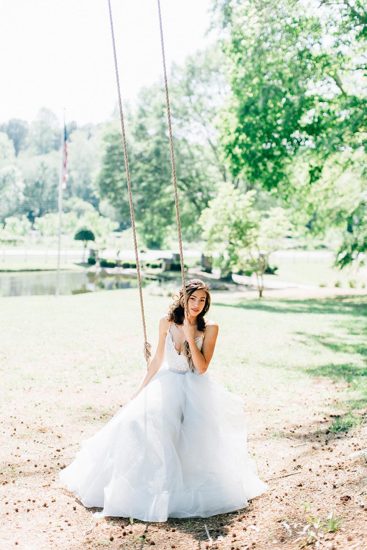 blue wedding dresses - photo by Four Corners Photography http://ruffledblog.com/modern-luxe-summer-wedding-inspiration