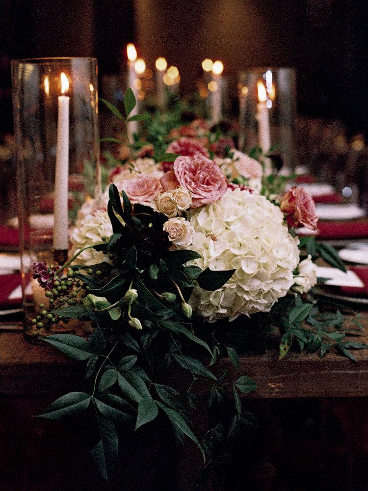 hydrangea centerpieces - photo by Bethany Erin Photography http://ruffledblog.com/modern-meets-rustic-wedding-in-dallas
