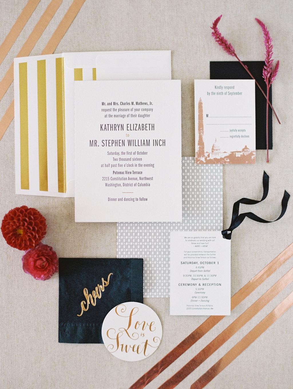 metallic wedding invitations - photo by Abby Jiu Photography http://ruffledblog.com/modern-metallics-wedding-in-downtown-washington-dc