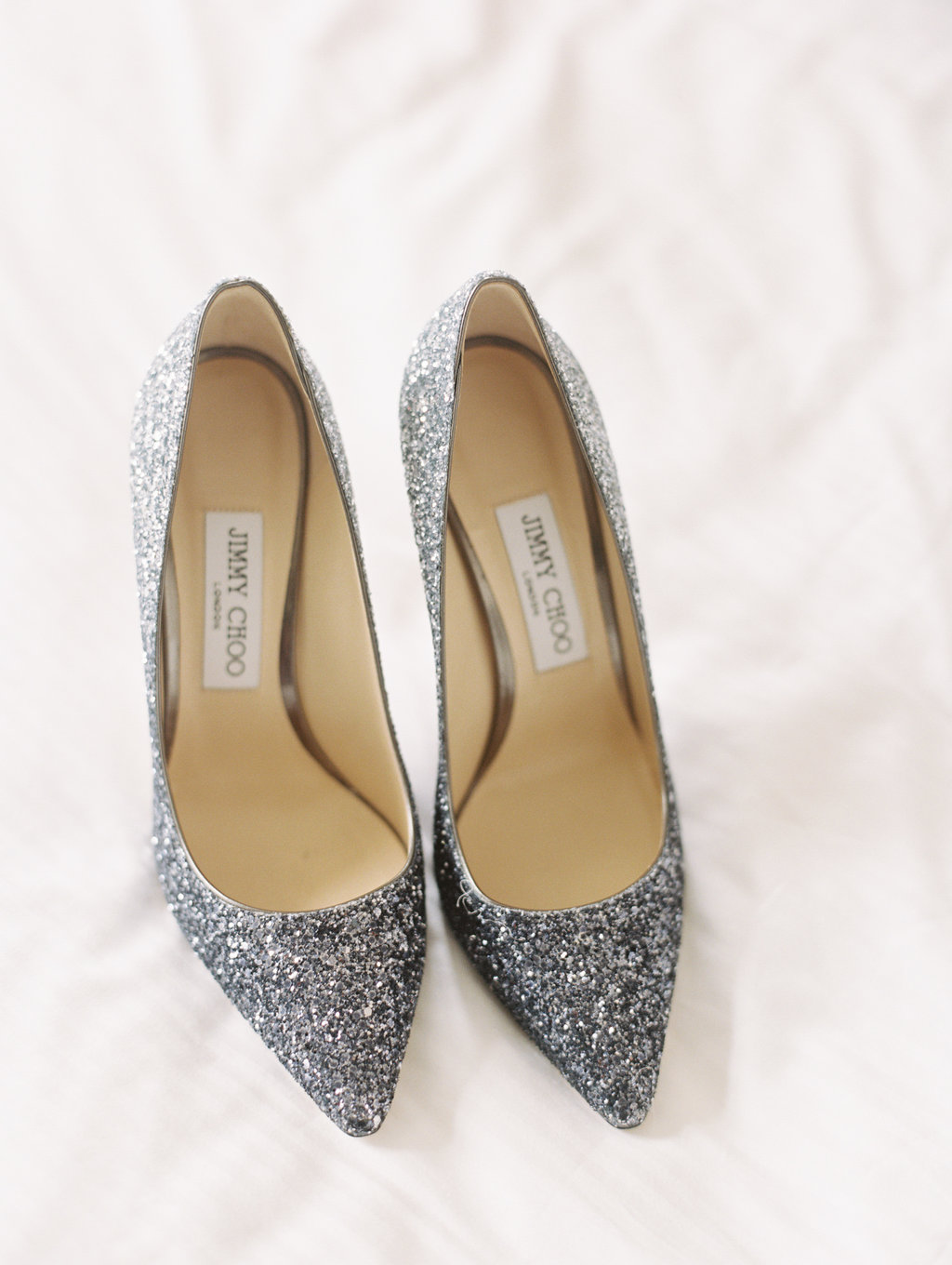 glittered wedding shoes - photo by Abby Jiu Photography https://ruffledblog.com/modern-metallics-wedding-in-downtown-washington-dc