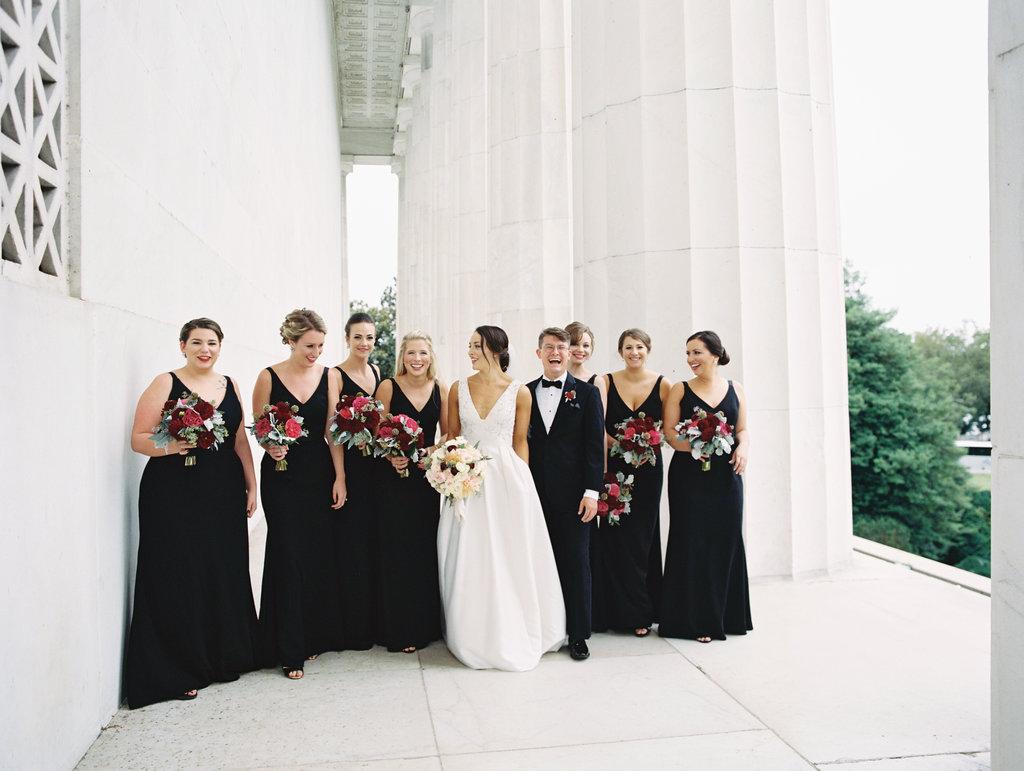 black wedding dresses - photo by Abby Jiu Photography http://ruffledblog.com/modern-metallics-wedding-in-downtown-washington-dc