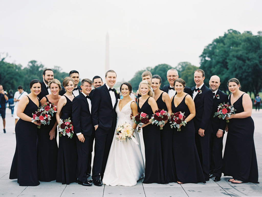 black bridesmaid dresses - photo by Abby Jiu Photography https://ruffledblog.com/modern-metallics-wedding-in-downtown-washington-dc