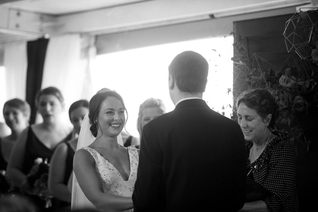 ceremony vows - photo by Abby Jiu Photography http://ruffledblog.com/modern-metallics-wedding-in-downtown-washington-dc
