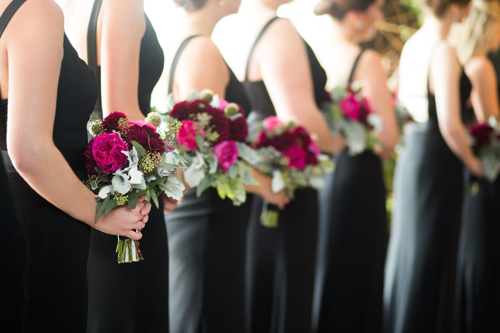 burgundy bridesmaid flowers - photo by Abby Jiu Photography https://ruffledblog.com/modern-metallics-wedding-in-downtown-washington-dc