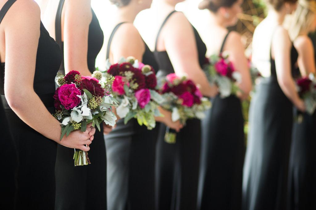 burgundy bridesmaid flowers - photo by Abby Jiu Photography http://ruffledblog.com/modern-metallics-wedding-in-downtown-washington-dc