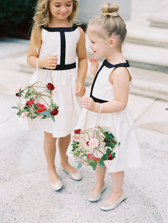 flower girl flowers - photo by Abby Jiu Photography http://ruffledblog.com/modern-metallics-wedding-in-downtown-washington-dc