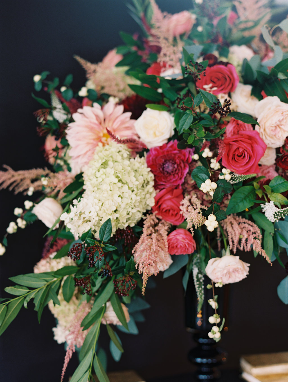 pink and red centerpieces - photo by Abby Jiu Photography http://ruffledblog.com/modern-metallics-wedding-in-downtown-washington-dc