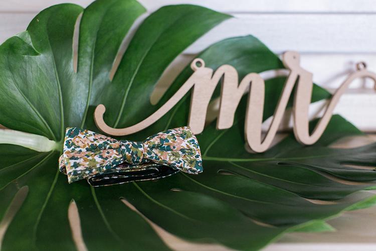 groom bow ties - photo by J Wiley Photography http://ruffledblog.com/modern-minimalist-wedding-ideas-with-a-tropical-twist
