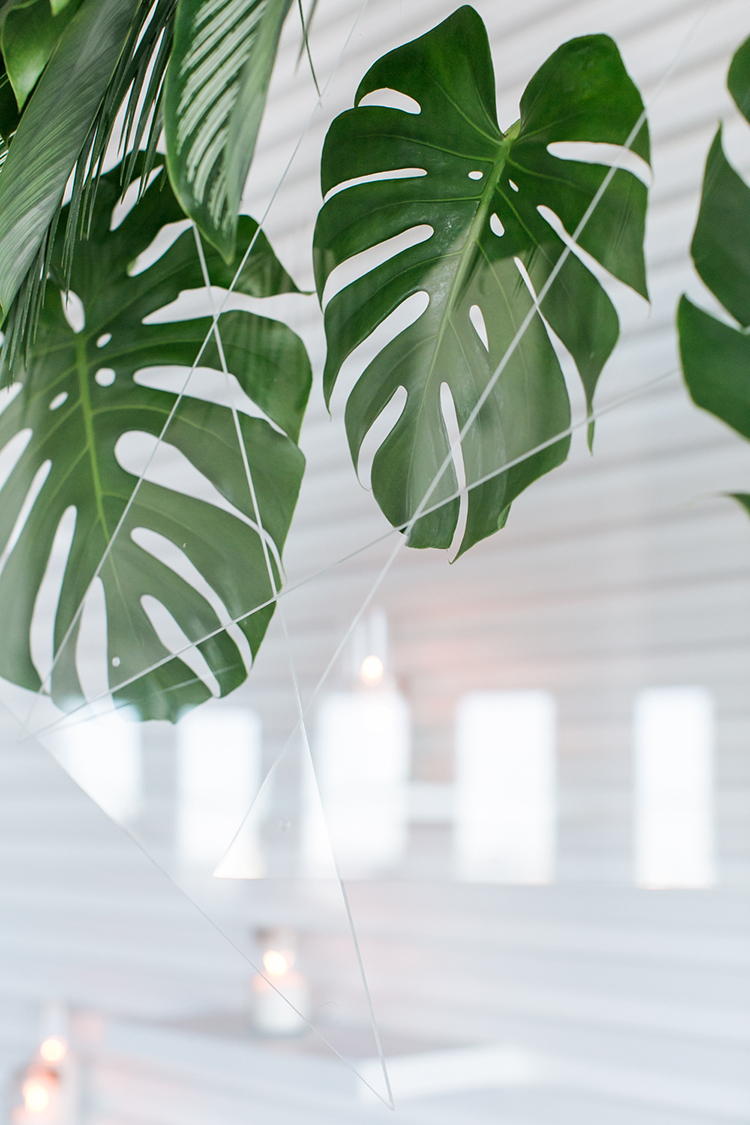 tropical inspired wedding ideas with philodendron - photo by J Wiley Photography http://ruffledblog.com/modern-minimalist-wedding-ideas-with-a-tropical-twist