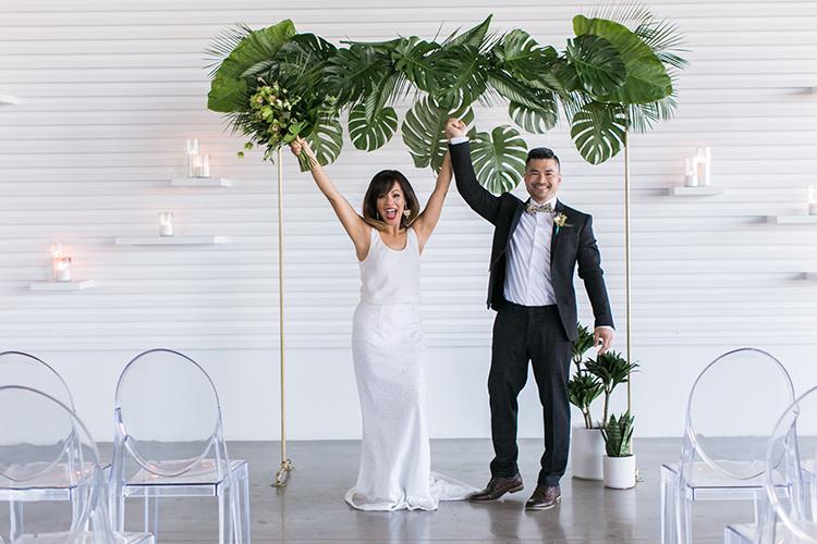 wedding ceremony celebrations - photo by J Wiley Photography http://ruffledblog.com/modern-minimalist-wedding-ideas-with-a-tropical-twist