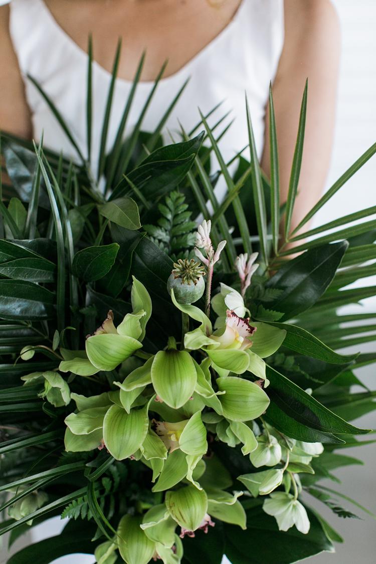 tropical wedding bouquets - photo by J Wiley Photography http://ruffledblog.com/modern-minimalist-wedding-ideas-with-a-tropical-twist