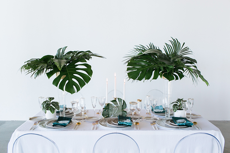 tropical wedding inspiration - photo by J Wiley Photography http://ruffledblog.com/modern-minimalist-wedding-ideas-with-a-tropical-twist
