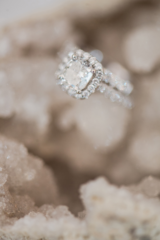 cushion cut engagement rings - photo by Kristen Weaver Photography http://ruffledblog.com/modern-organic-wedding-inspiration-with-greenery