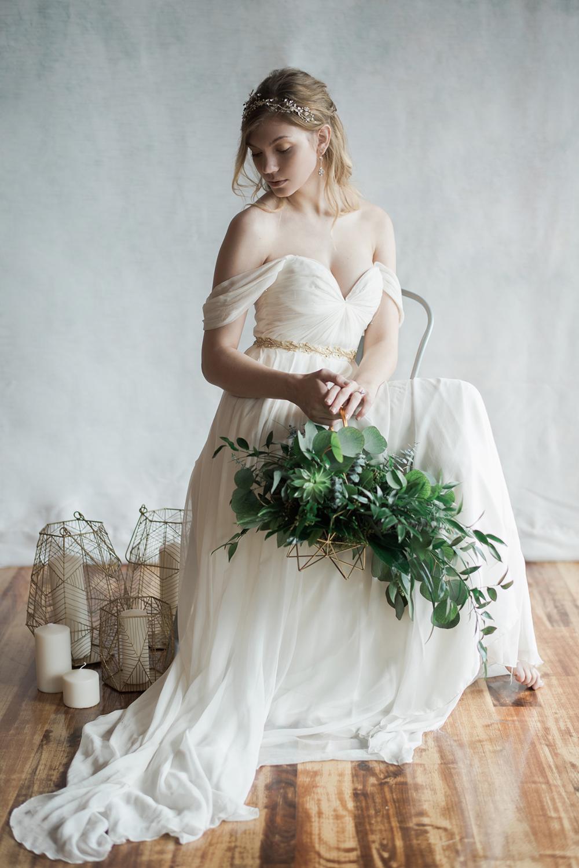 unique bouquets - photo by Kristen Weaver Photography http://ruffledblog.com/modern-organic-wedding-inspiration-with-greenery